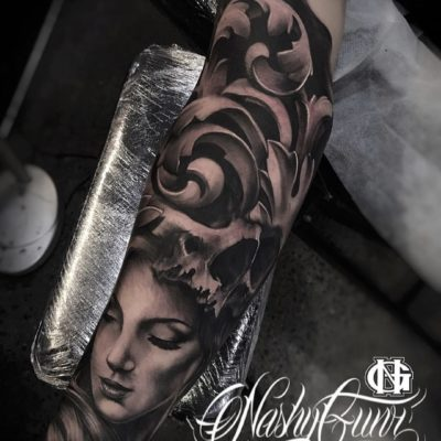 Black and grey realism tattoo by Nashy